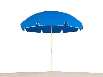 Pacific blue Frankford umbrella featured in the Beach collection