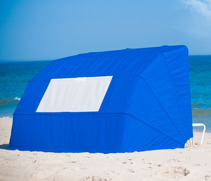 Frankford Beach Cabana in Pacific Blue set up on the sand