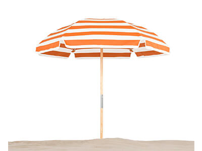 Frankford Avalon Beach Umbrella with orange and white stripes