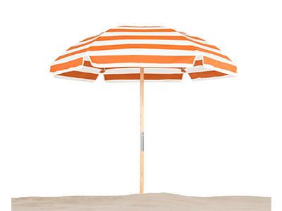 Frankford Avalon Beach Umbrella with orange and white stripes