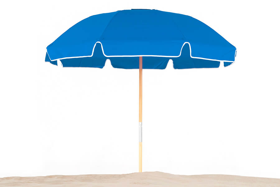 Frankford Avalon Beach Umbrella with blue fabric