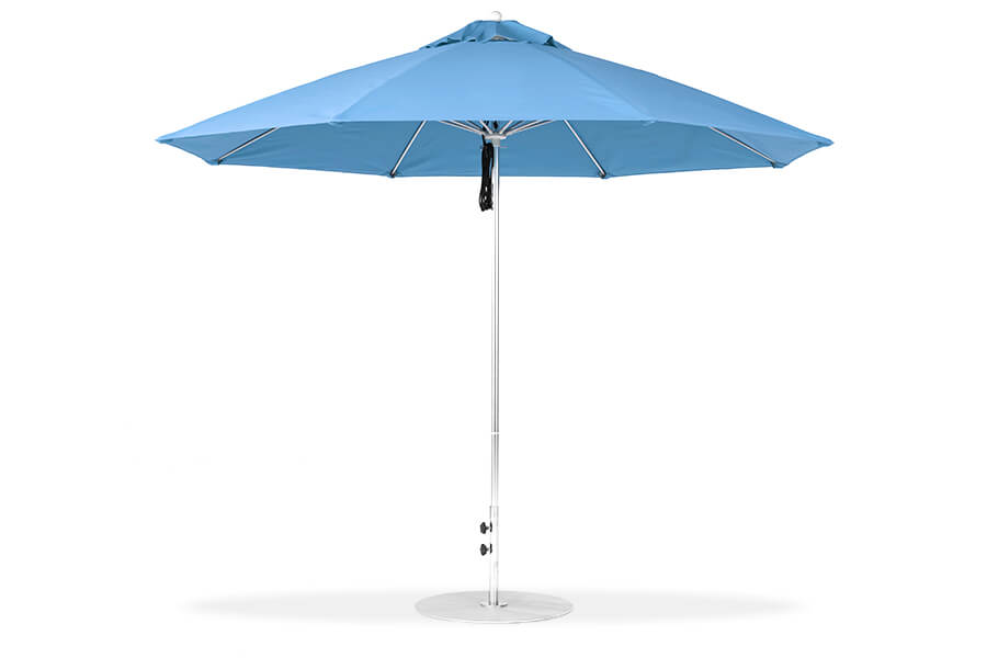 Frankford Monterey Fiberglass Market Pulley-System Umbrella with blue fabric