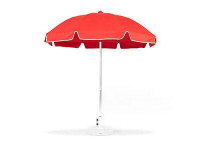 Red Frankford umbrella featured in the Patio collection