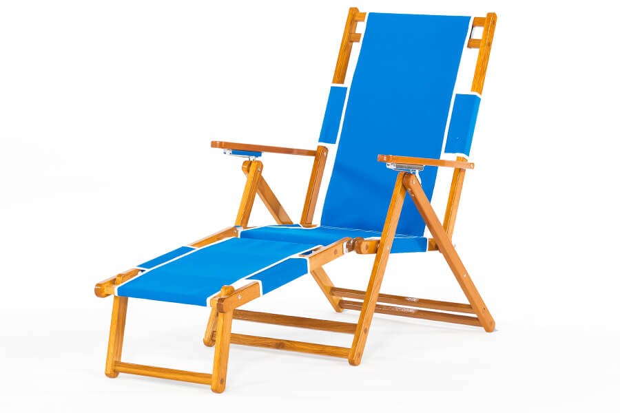 Frankford Oakwood beach lounger chair with blue and white fabric